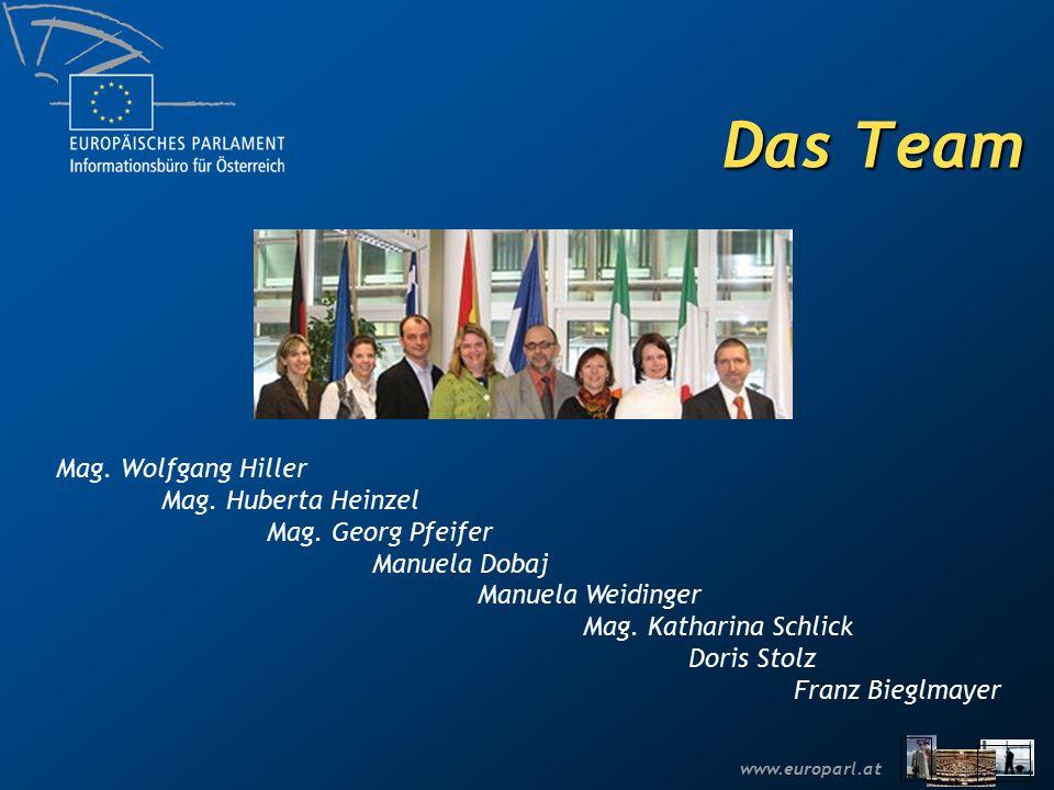www.europarl.at Das Team Mag. Wolfgang Hiller Mag. Huberta Heinzel Mag. Georg Pfeifer Manuela Dobaj Manuela Weidinger Mag. Katharina Schlick Doris Sto