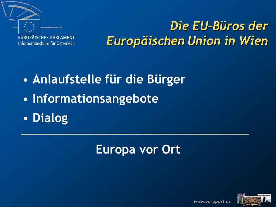 www.europarl.at Aufgaben des Informationsbüros Arbeit des Europäischen Parlaments transparent machen Anlaufstelle für Fragen Sucht das Gespräch und den Dialog mit den Bürgerinnen und Bürgern Beitrag zur europapolitischen Debatte