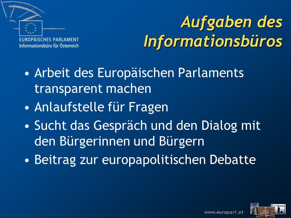 www.europarl.at Aufgaben des Informationsbüros Arbeit des Europäischen Parlaments transparent machen Anlaufstelle für Fragen Sucht das Gespräch und de