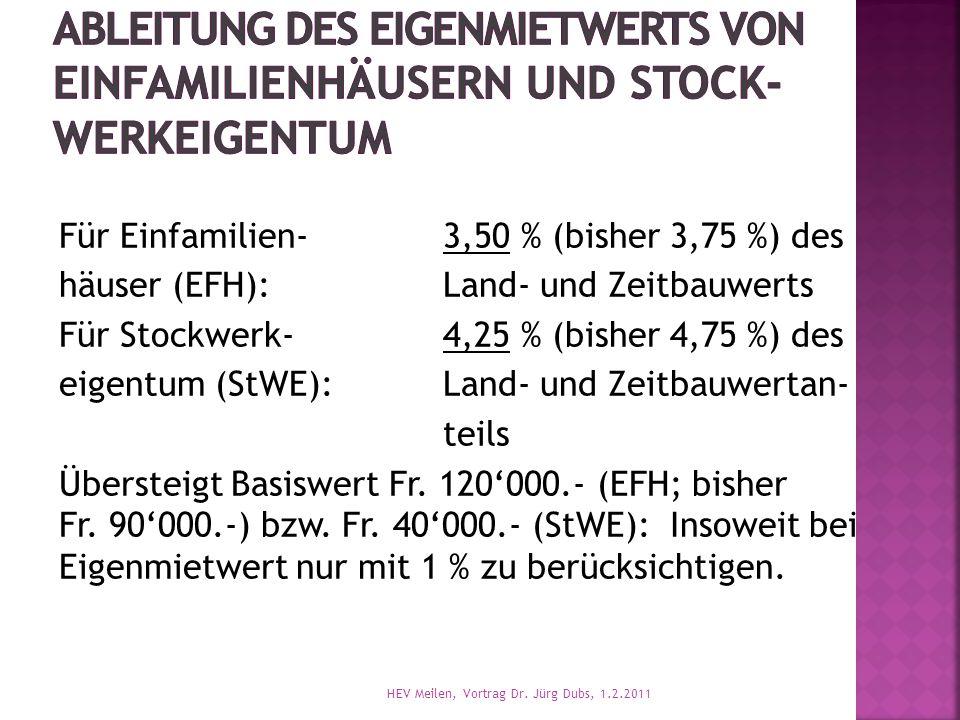 Für Einfamilien-3,50 % (bisher 3,75 %) des häuser (EFH):Land- und Zeitbauwerts Für Stockwerk-4,25 % (bisher 4,75 %) des eigentum (StWE):Land- und Zeitbauwertan- teils Übersteigt Basiswert Fr.