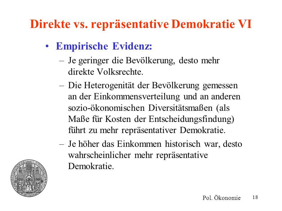 18 Direkte vs. repräsentative Demokratie VI Empirische Evidenz: –Je geringer die Bevölkerung, desto mehr direkte Volksrechte. –Die Heterogenität der B
