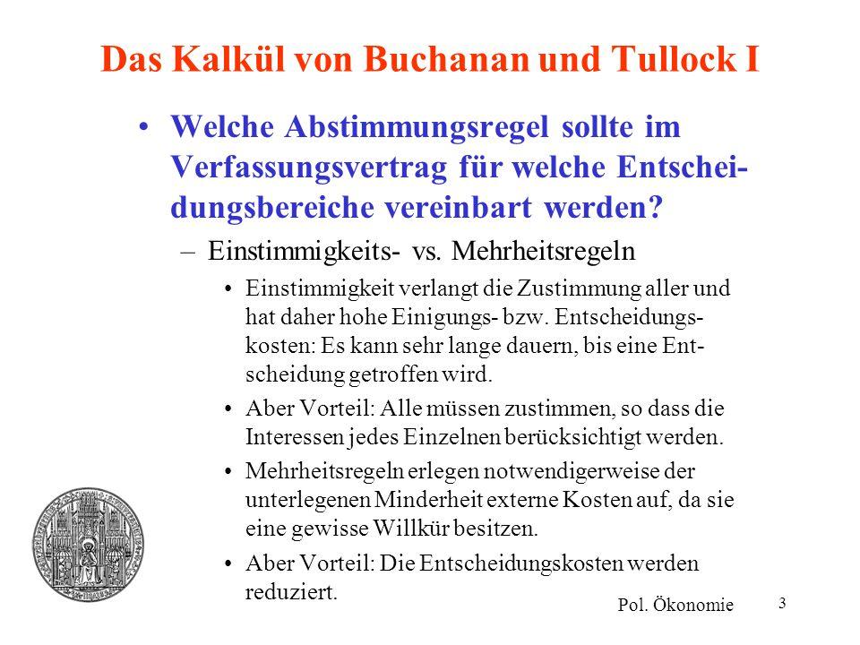 3 Das Kalkül von Buchanan und Tullock I Welche Abstimmungsregel sollte im Verfassungsvertrag für welche Entschei- dungsbereiche vereinbart werden? –Ei
