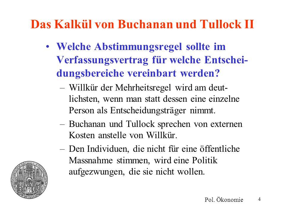 4 Das Kalkül von Buchanan und Tullock II Welche Abstimmungsregel sollte im Verfassungsvertrag für welche Entschei- dungsbereiche vereinbart werden? –W