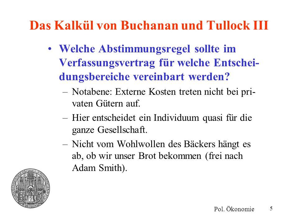 5 Das Kalkül von Buchanan und Tullock III Welche Abstimmungsregel sollte im Verfassungsvertrag für welche Entschei- dungsbereiche vereinbart werden? –