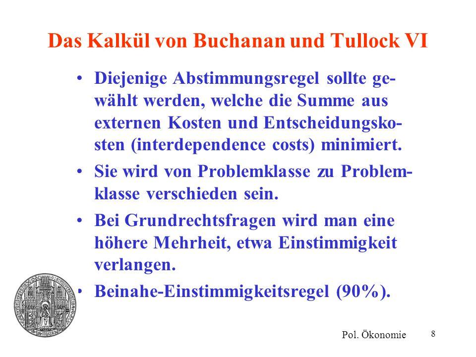 8 Das Kalkül von Buchanan und Tullock VI Diejenige Abstimmungsregel sollte ge- wählt werden, welche die Summe aus externen Kosten und Entscheidungsko-
