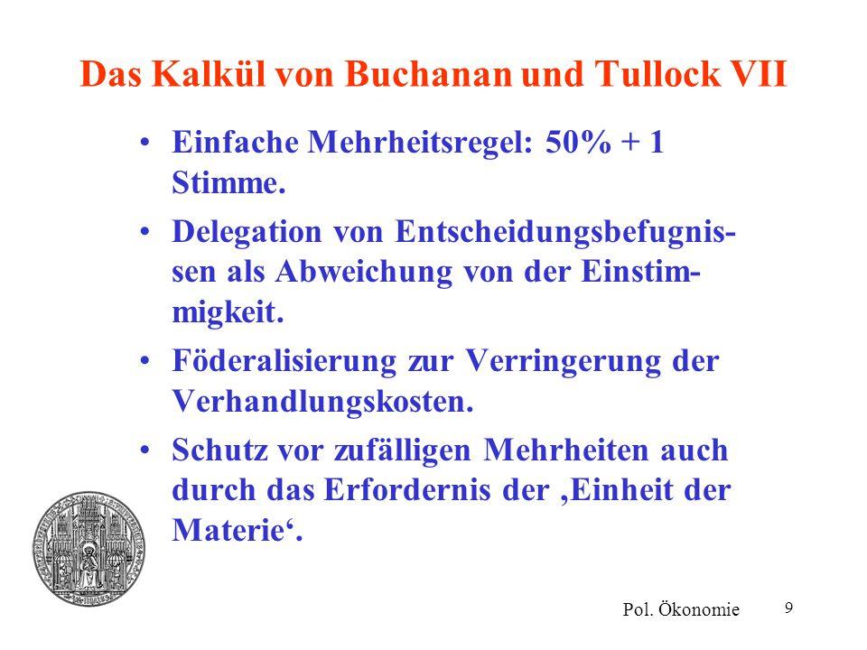 9 Das Kalkül von Buchanan und Tullock VII Einfache Mehrheitsregel: 50% + 1 Stimme. Delegation von Entscheidungsbefugnis- sen als Abweichung von der Ei