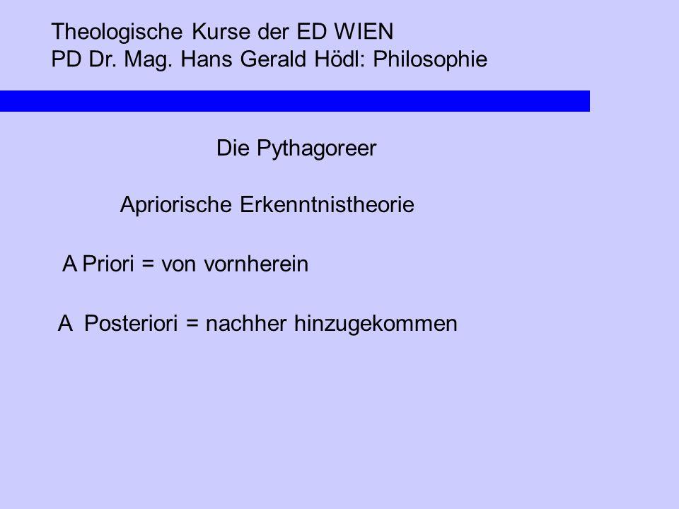 Theologische Kurse der ED WIEN PD Dr. Mag. Hans Gerald Hödl: Philosophie Die Pythagoreer Apriorische Erkenntnistheorie A Priori = von vornherein A Pos