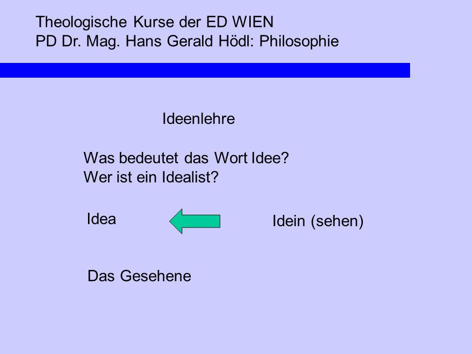 Theologische Kurse der ED WIEN PD Dr. Mag. Hans Gerald Hödl: Philosophie Ideenlehre Was bedeutet das Wort Idee? Wer ist ein Idealist? Idea Idein (sehe