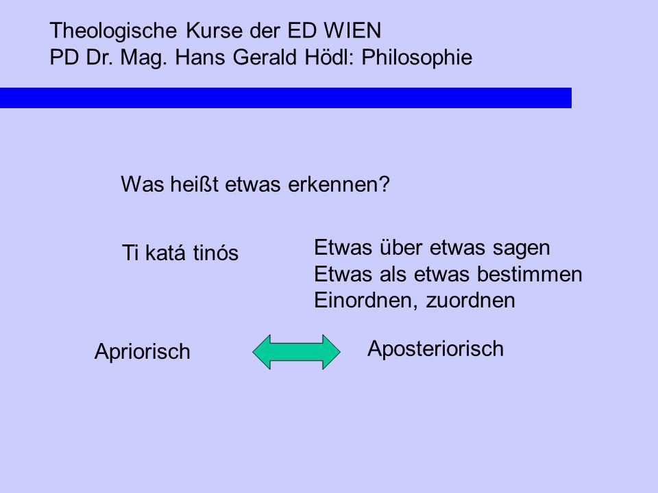 Theologische Kurse der ED WIEN PD Dr. Mag. Hans Gerald Hödl: Philosophie Was heißt etwas erkennen? Ti katá tinós Etwas über etwas sagen Etwas als etwa