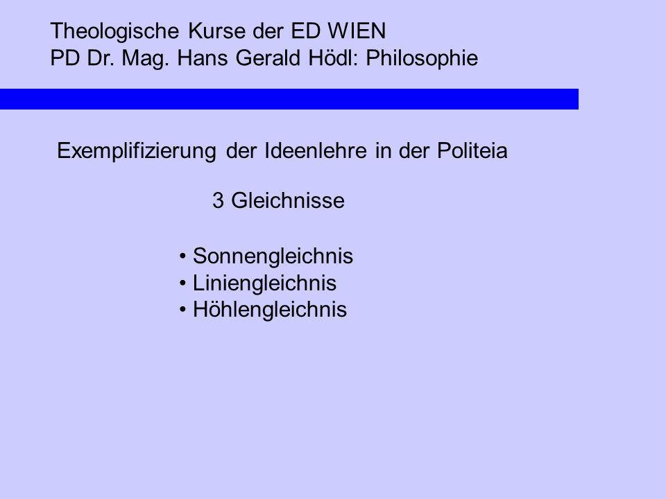 Theologische Kurse der ED WIEN PD Dr. Mag. Hans Gerald Hödl: Philosophie Exemplifizierung der Ideenlehre in der Politeia 3 Gleichnisse Sonnengleichnis
