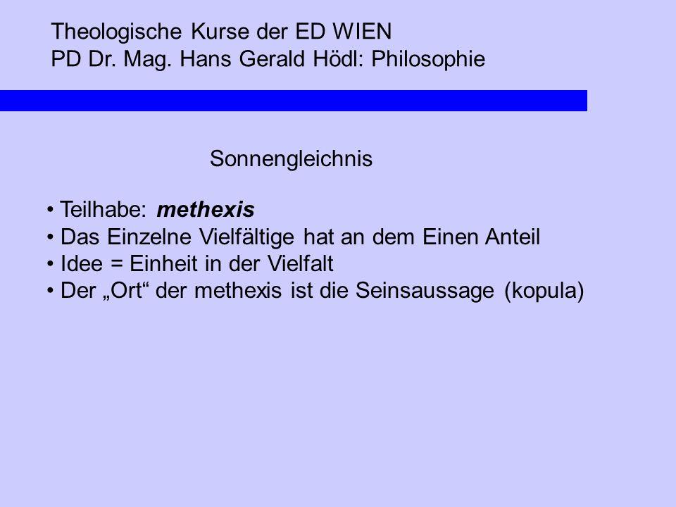 Theologische Kurse der ED WIEN PD Dr. Mag. Hans Gerald Hödl: Philosophie Sonnengleichnis Teilhabe: methexis Das Einzelne Vielfältige hat an dem Einen