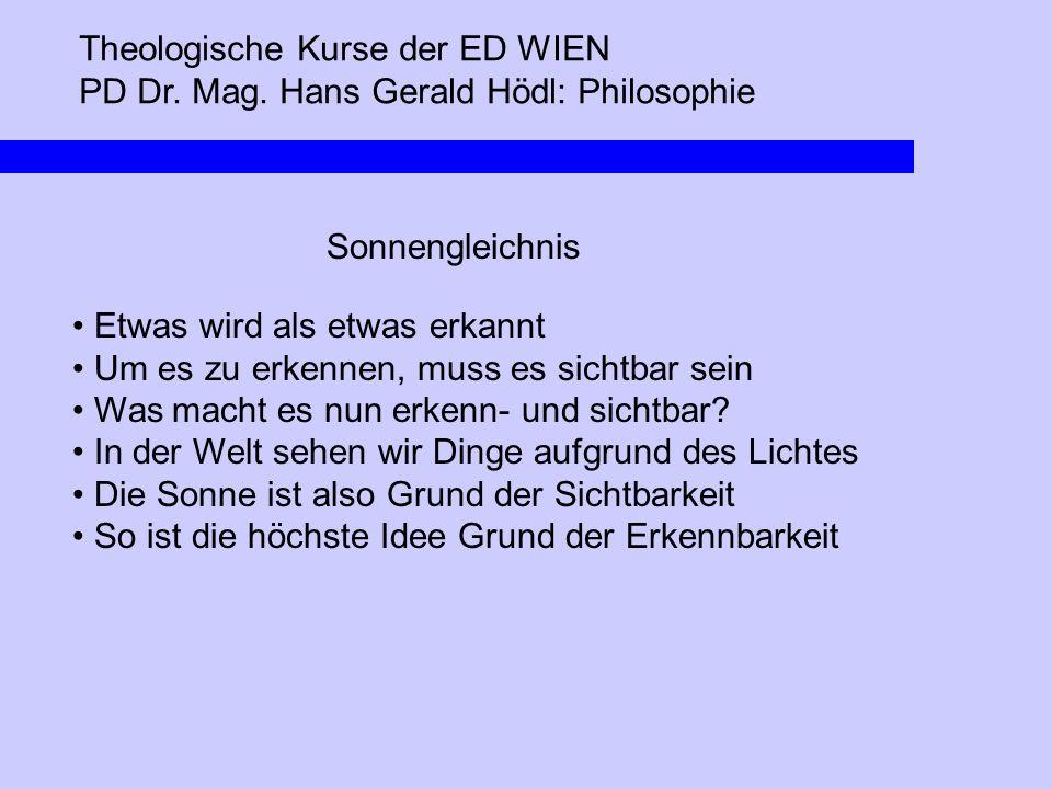 Theologische Kurse der ED WIEN PD Dr. Mag. Hans Gerald Hödl: Philosophie Sonnengleichnis Etwas wird als etwas erkannt Um es zu erkennen, muss es sicht