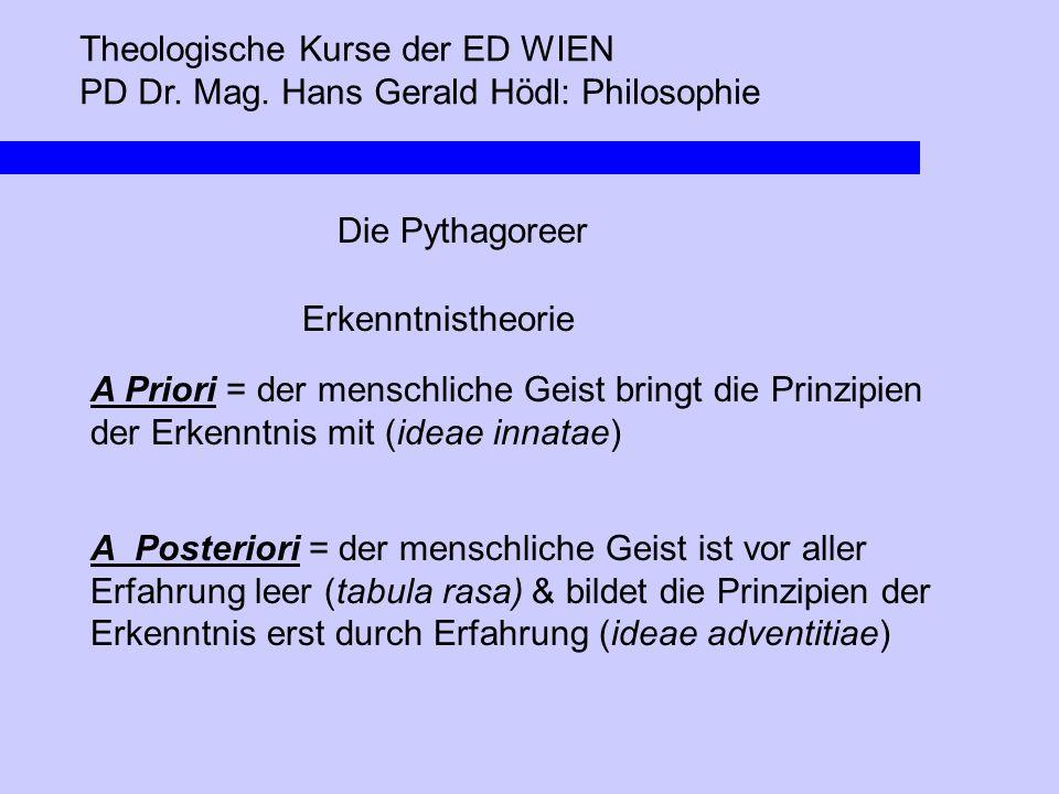 Theologische Kurse der ED WIEN PD Dr. Mag. Hans Gerald Hödl: Philosophie Die Pythagoreer Erkenntnistheorie A Priori = der menschliche Geist bringt die