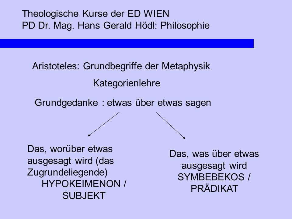 Theologische Kurse der ED WIEN PD Dr. Mag. Hans Gerald Hödl: Philosophie Aristoteles: Grundbegriffe der Metaphysik Kategorienlehre Grundgedanke : etwa