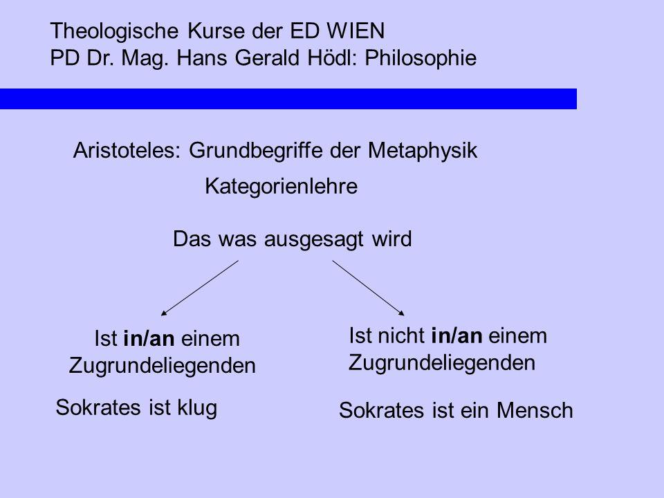 Theologische Kurse der ED WIEN PD Dr. Mag. Hans Gerald Hödl: Philosophie Aristoteles: Grundbegriffe der Metaphysik Kategorienlehre Ist in/an einem Zug