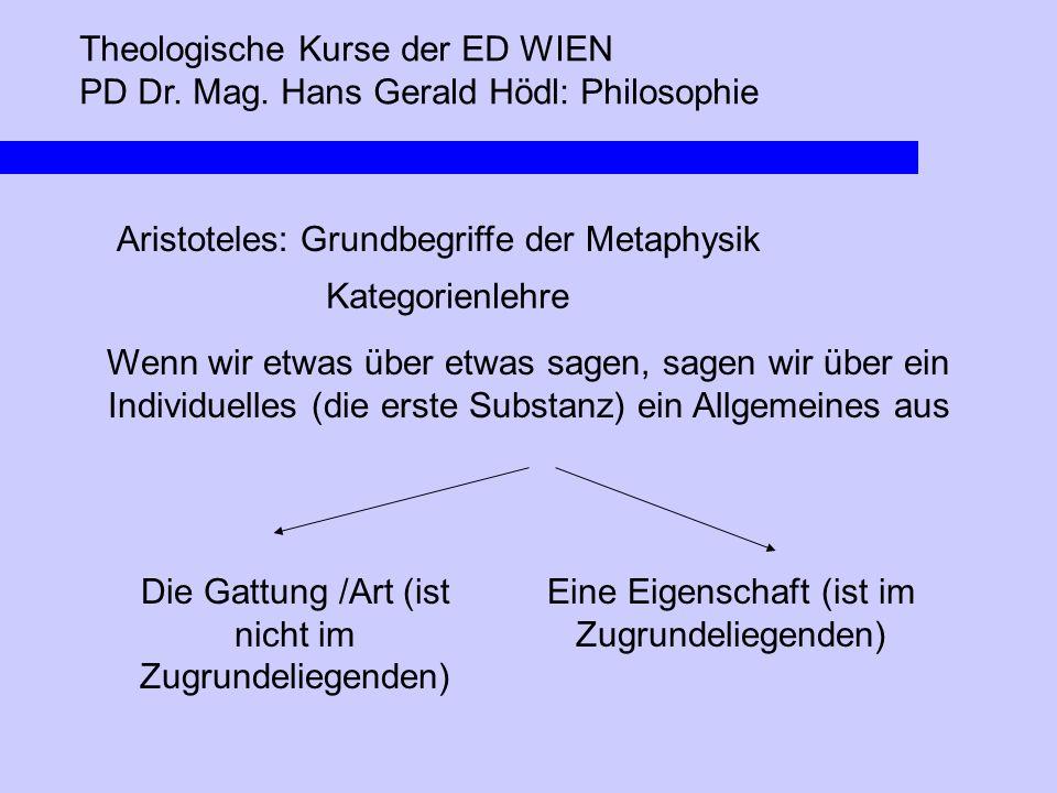 Theologische Kurse der ED WIEN PD Dr. Mag. Hans Gerald Hödl: Philosophie Aristoteles: Grundbegriffe der Metaphysik Kategorienlehre Die Gattung /Art (i