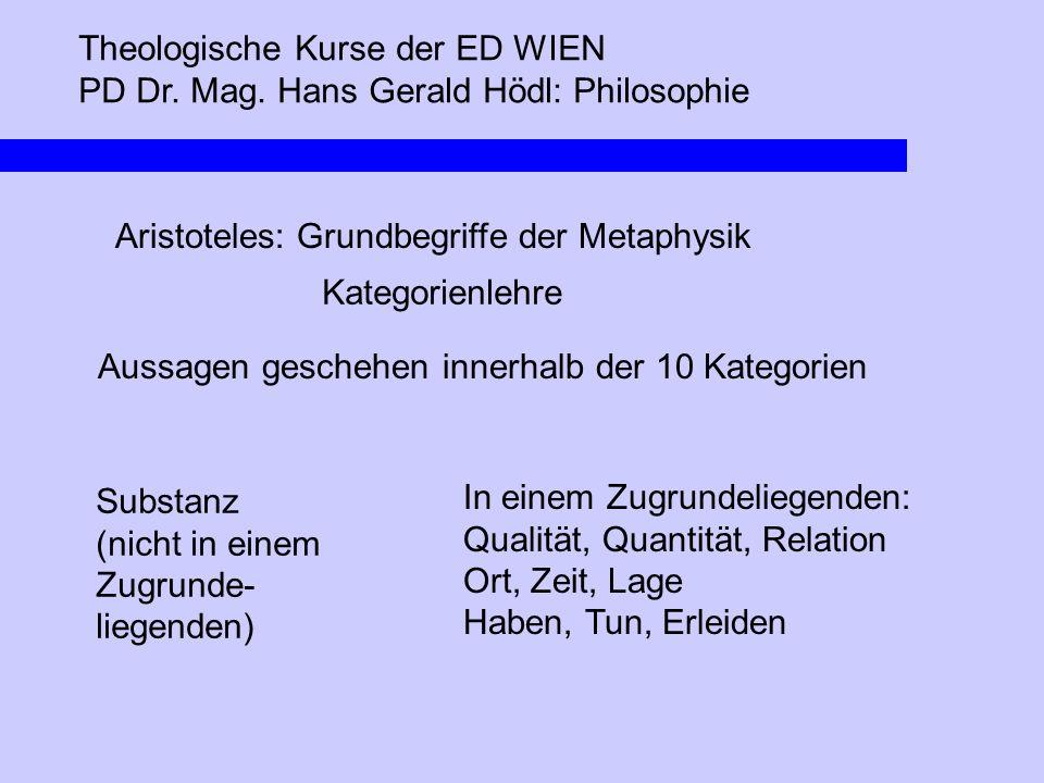 Theologische Kurse der ED WIEN PD Dr. Mag. Hans Gerald Hödl: Philosophie Aristoteles: Grundbegriffe der Metaphysik Kategorienlehre Aussagen geschehen