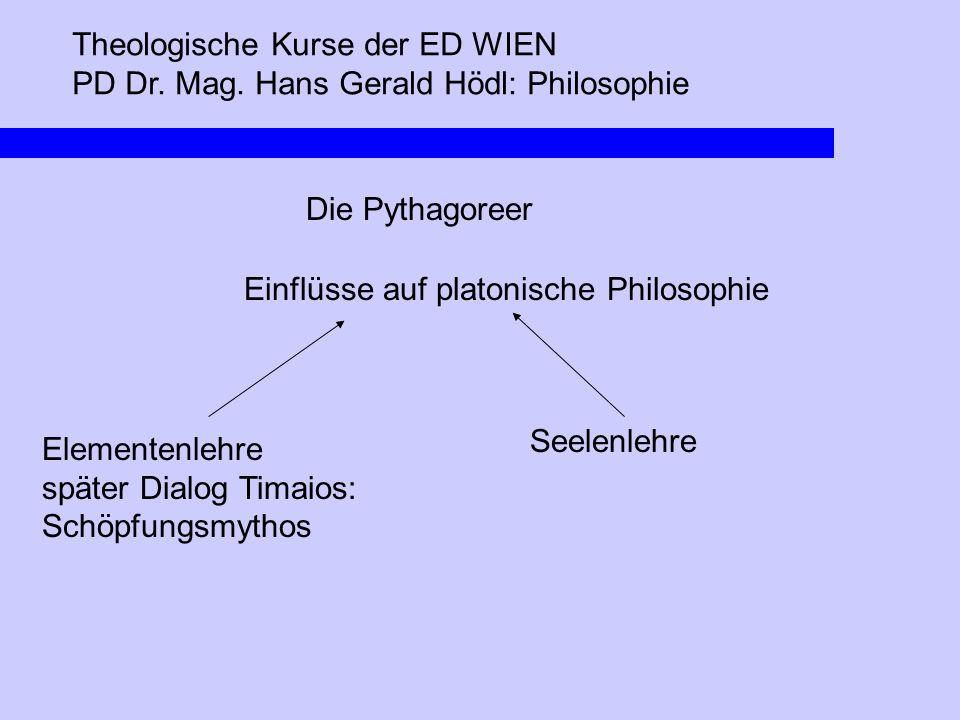 Theologische Kurse der ED WIEN PD Dr. Mag. Hans Gerald Hödl: Philosophie Die Pythagoreer Einflüsse auf platonische Philosophie Elementenlehre später D