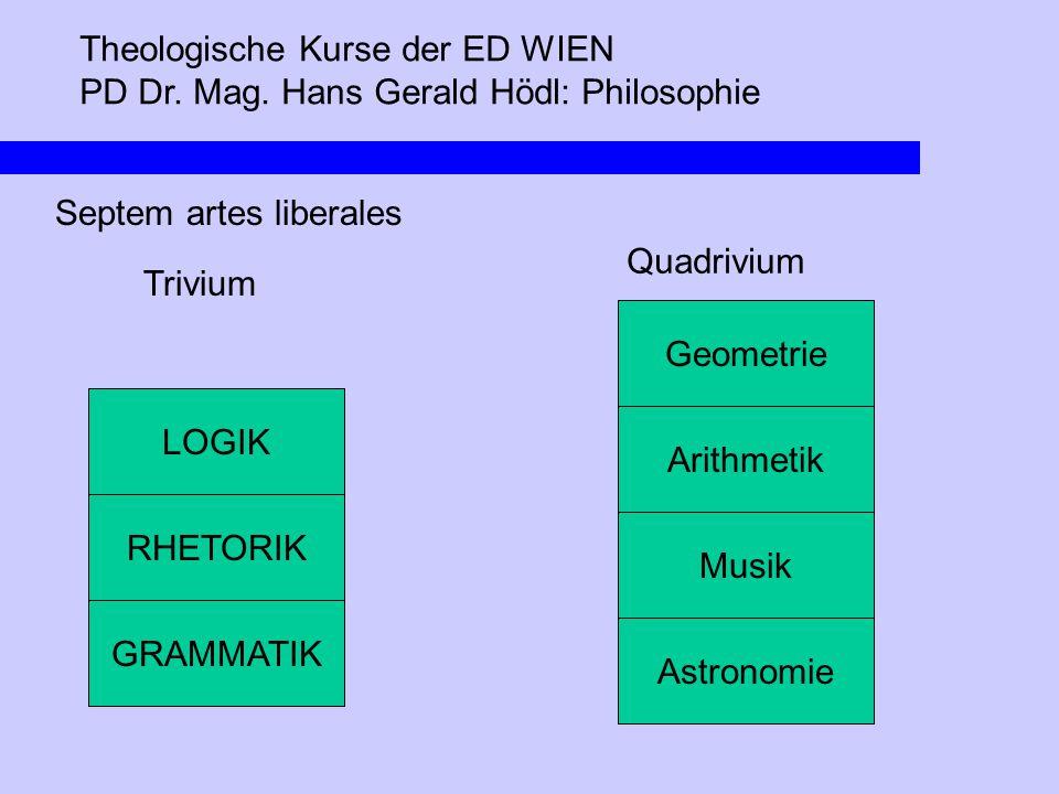 Theologische Kurse der ED WIEN PD Dr. Mag. Hans Gerald Hödl: Philosophie Septem artes liberales Trivium LOGIK RHETORIK GRAMMATIK Arithmetik Musik Astr