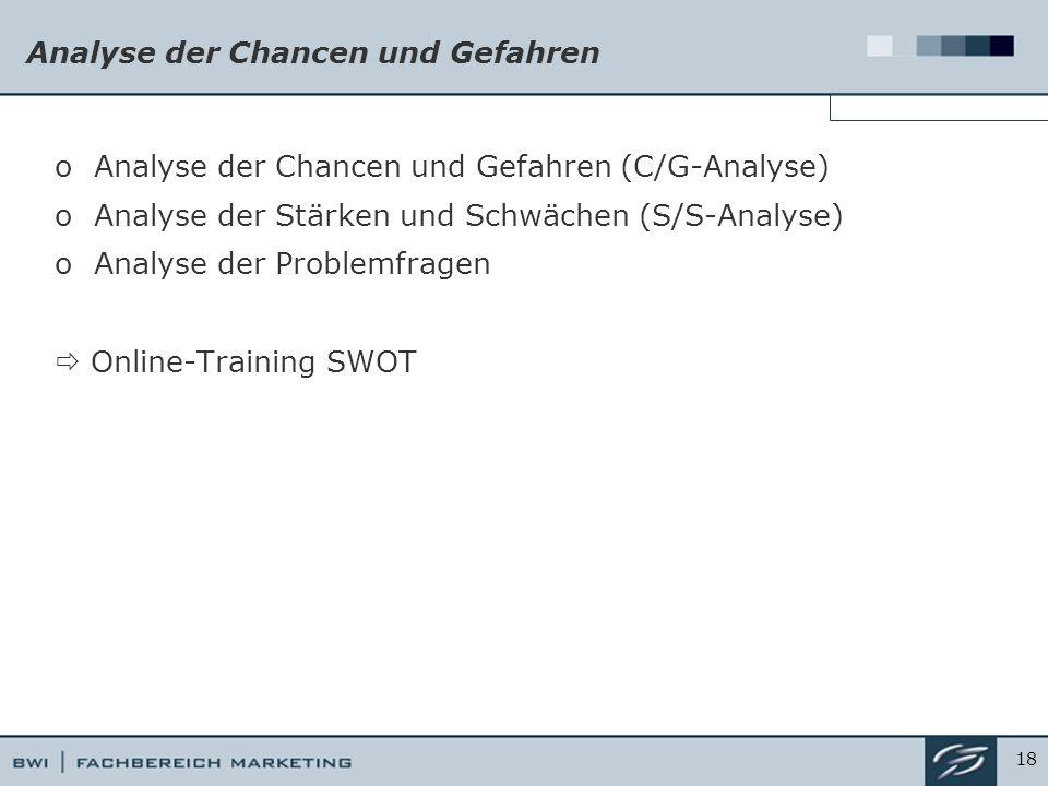 Analyse der Chancen und Gefahren oAnalyse der Chancen und Gefahren (C/G-Analyse) oAnalyse der Stärken und Schwächen (S/S-Analyse) oAnalyse der Problemfragen  Online-Training SWOT 18