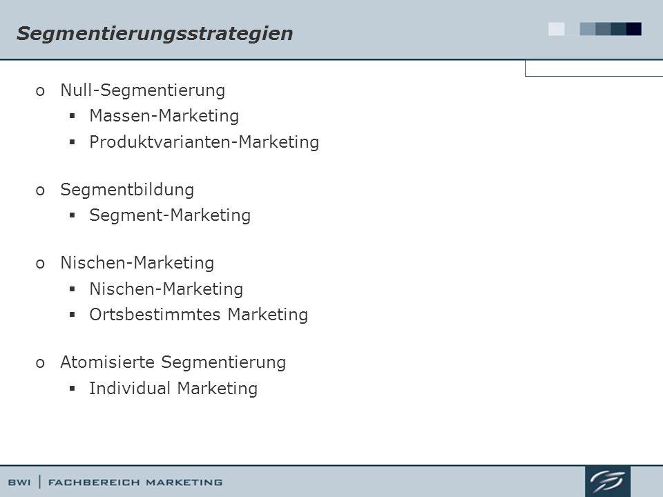 Segmentierungsstrategien oNull-Segmentierung  Massen-Marketing  Produktvarianten-Marketing oSegmentbildung  Segment-Marketing oNischen-Marketing  Nischen-Marketing  Ortsbestimmtes Marketing oAtomisierte Segmentierung  Individual Marketing