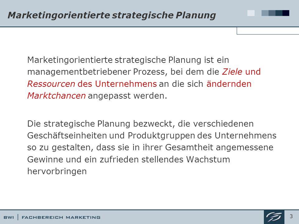 Marketingorientierte strategische Planung Marketingorientierte strategische Planung ist ein managementbetriebener Prozess, bei dem die Ziele und Ressourcen des Unternehmens an die sich ändernden Marktchancen angepasst werden.