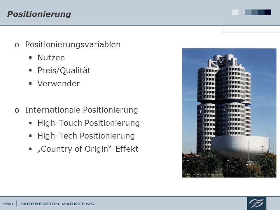 """Positionierung oPositionierungsvariablen  Nutzen  Preis/Qualität  Verwender oInternationale Positionierung  High-Touch Positionierung  High-Tech Positionierung  """"Country of Origin -Effekt"""