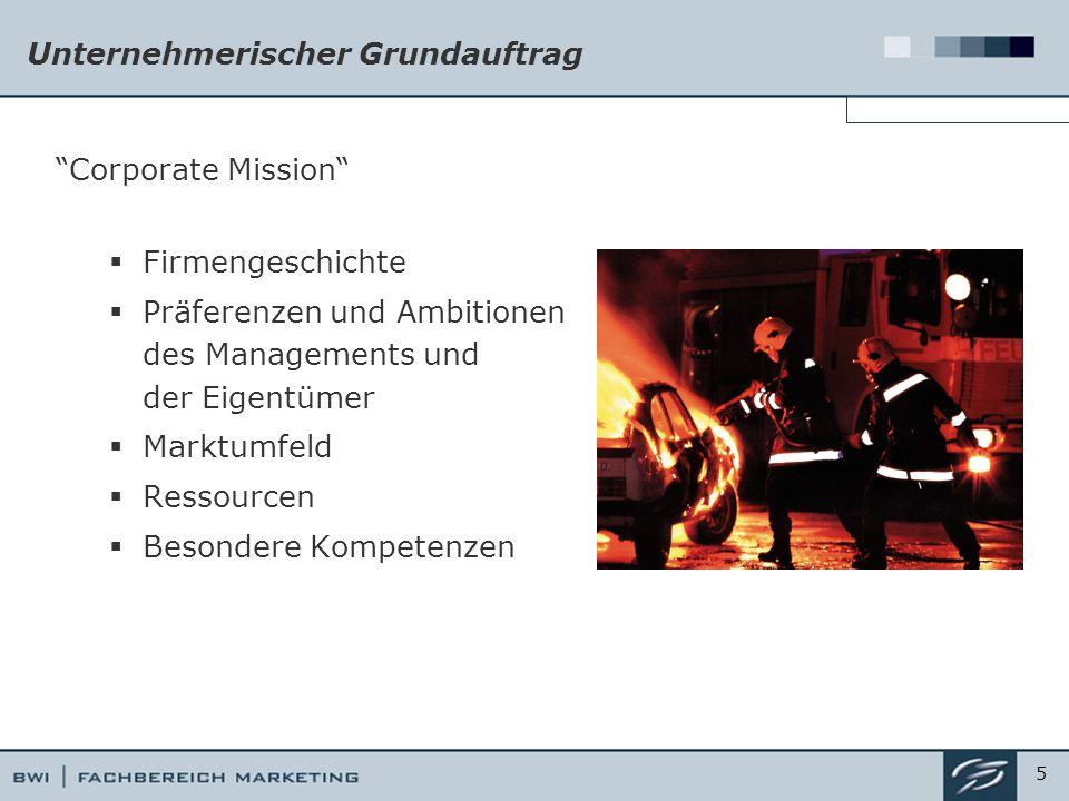 Unternehmerischer Grundauftrag Corporate Mission  Firmengeschichte  Präferenzen und Ambitionen des Managements und der Eigentümer  Marktumfeld  Ressourcen  Besondere Kompetenzen 5