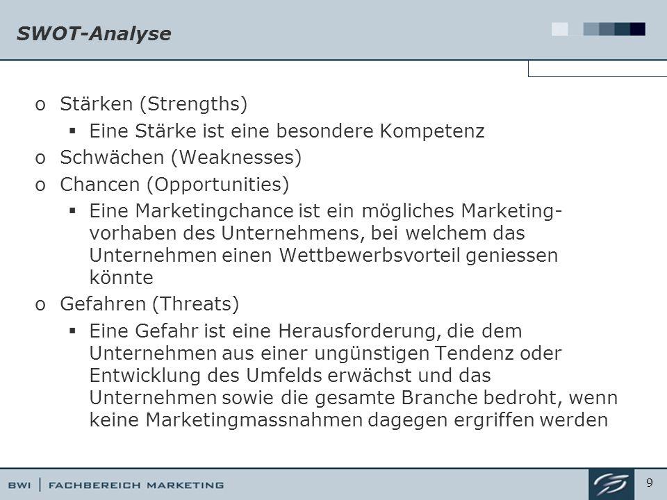 SWOT-Analyse oStärken (Strengths)  Eine Stärke ist eine besondere Kompetenz oSchwächen (Weaknesses) oChancen (Opportunities)  Eine Marketingchance ist ein mögliches Marketing- vorhaben des Unternehmens, bei welchem das Unternehmen einen Wettbewerbsvorteil geniessen könnte oGefahren (Threats)  Eine Gefahr ist eine Herausforderung, die dem Unternehmen aus einer ungünstigen Tendenz oder Entwicklung des Umfelds erwächst und das Unternehmen sowie die gesamte Branche bedroht, wenn keine Marketingmassnahmen dagegen ergriffen werden 9