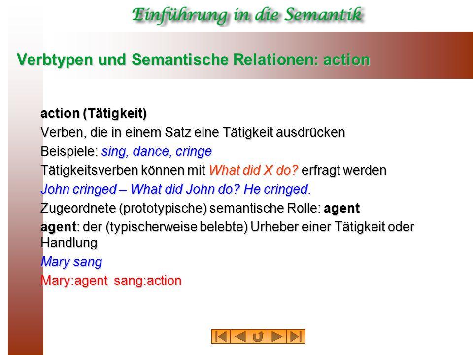 Verbtypen und Semantische Relationen: action action (Tätigkeit) Verben, die in einem Satz eine Tätigkeit ausdrücken Beispiele: sing, dance, cringe Tätigkeitsverben können mit What did X do.