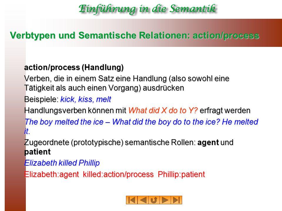 Verbtypen und Semantische Relationen: action/process action/process (Handlung) Verben, die in einem Satz eine Handlung (also sowohl eine Tätigkeit als auch einen Vorgang) ausdrücken Beispiele: kick, kiss, melt Handlungsverben können mit What did X do to Y.