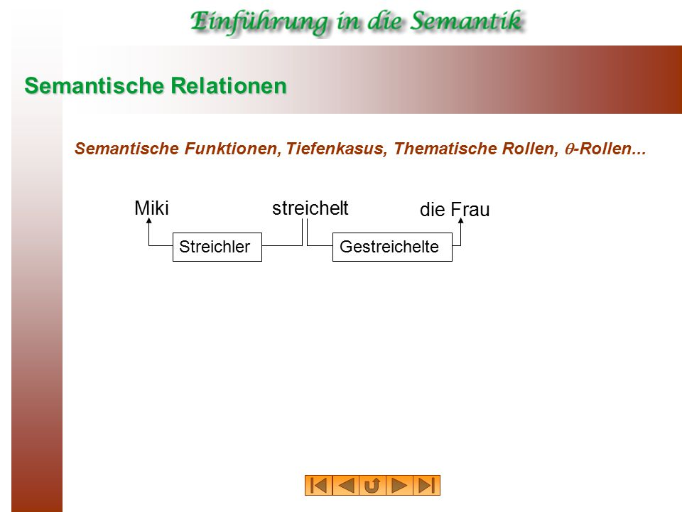 Semantische Relationen Semantische Funktionen, Tiefenkasus, Thematische Rollen,  -Rollen...