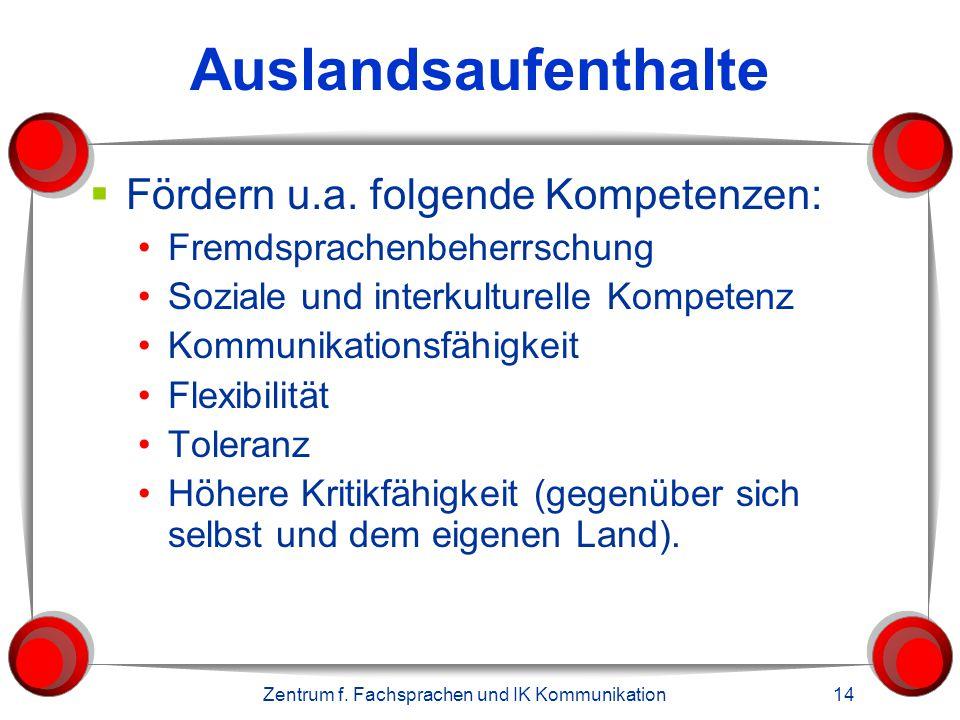 Zentrum f. Fachsprachen und IK Kommunikation 14 Auslandsaufenthalte  Fördern u.a. folgende Kompetenzen: Fremdsprachenbeherrschung Soziale und interku