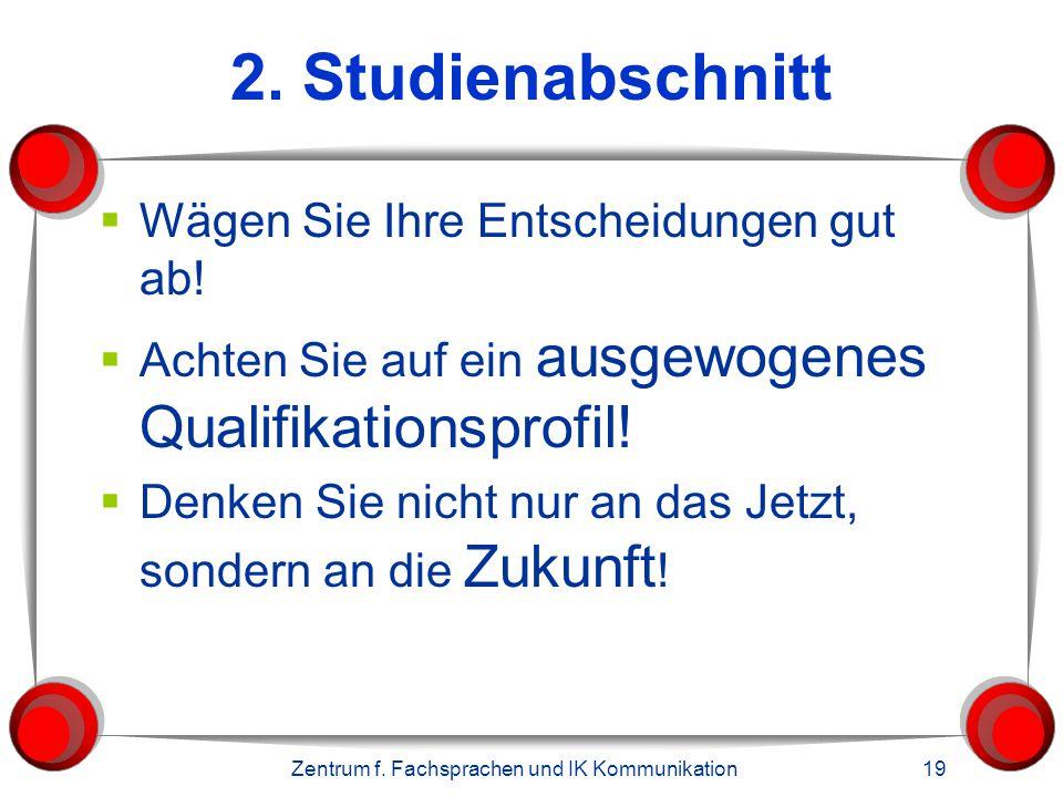 Zentrum f.Fachsprachen und IK Kommunikation 19 2.