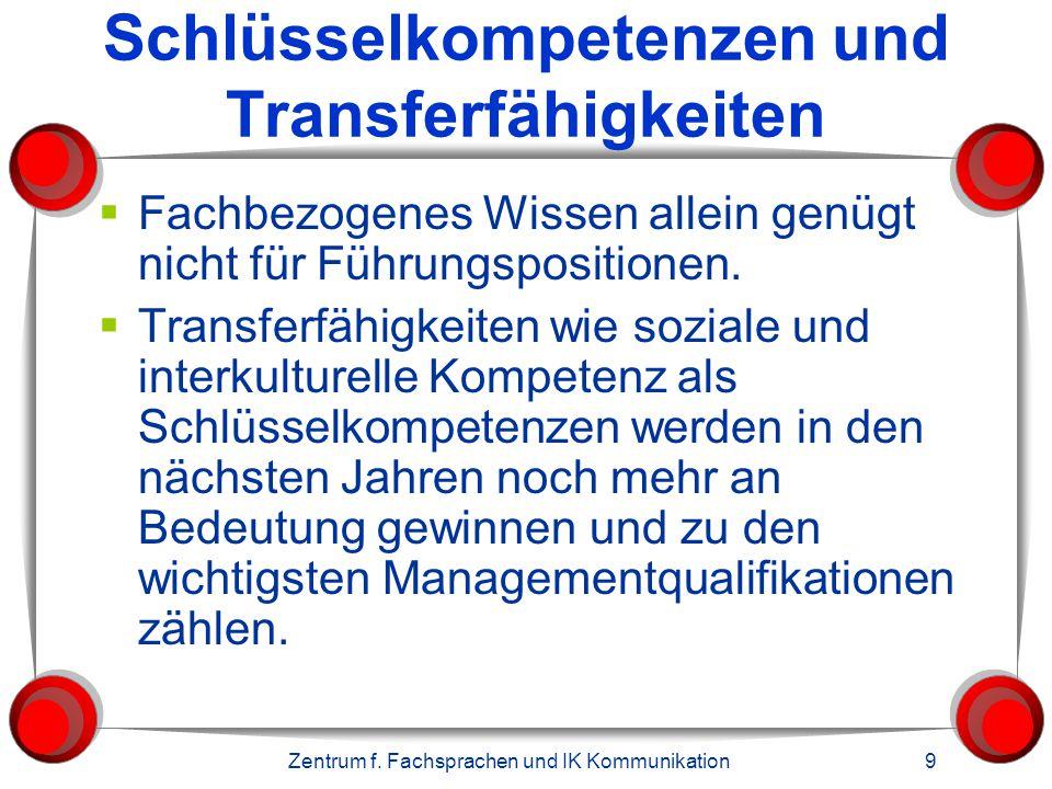 Zentrum f. Fachsprachen und IK Kommunikation 9 Schlüsselkompetenzen und Transferfähigkeiten  Fachbezogenes Wissen allein genügt nicht für Führungspos