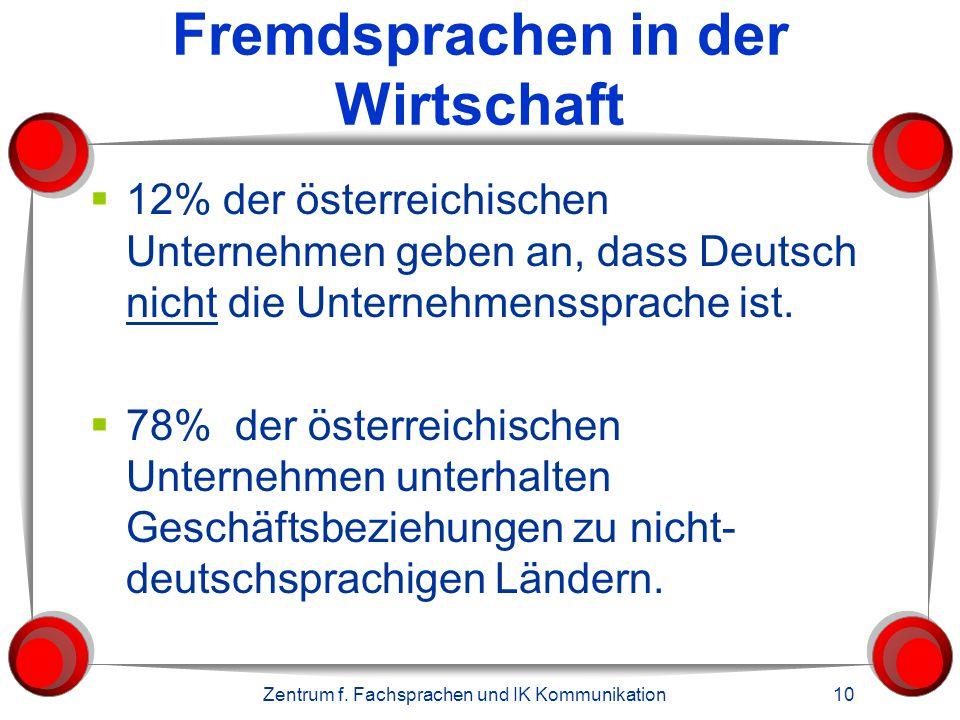 Zentrum f. Fachsprachen und IK Kommunikation 10 Fremdsprachen in der Wirtschaft  12% der österreichischen Unternehmen geben an, dass Deutsch nicht di