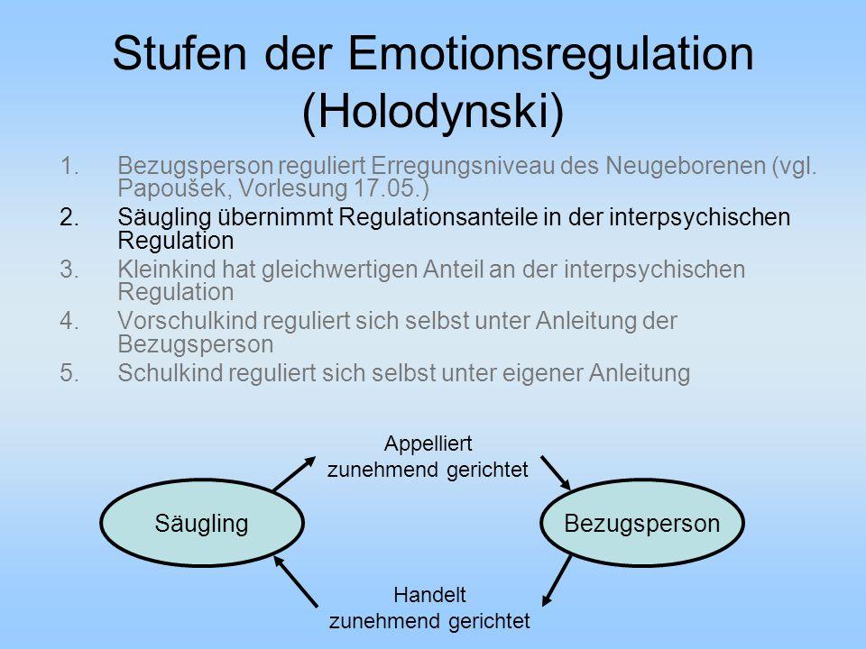 Stufen der Emotionsregulation (Holodynski) 1.Bezugsperson reguliert Erregungsniveau des Neugeborenen (vgl.