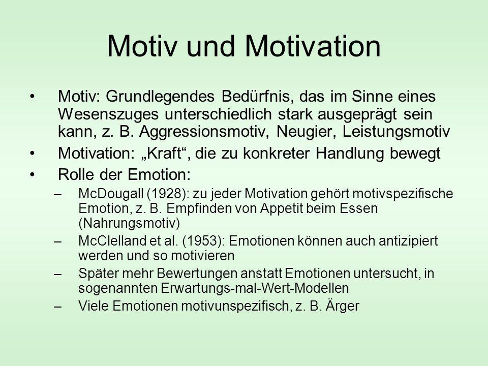 Motiv und Motivation Motiv: Grundlegendes Bedürfnis, das im Sinne eines Wesenszuges unterschiedlich stark ausgeprägt sein kann, z.