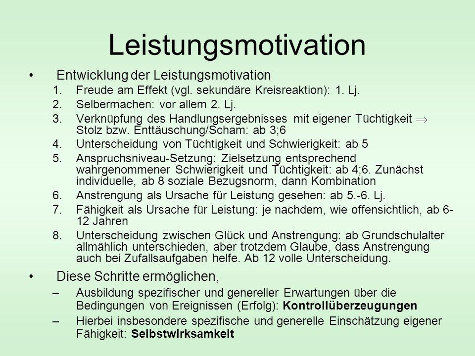 Leistungsmotivation Entwicklung der Leistungsmotivation 1.Freude am Effekt (vgl.