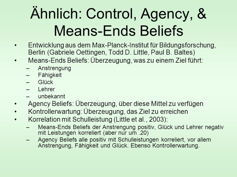 Ähnlich: Control, Agency, & Means-Ends Beliefs Entwicklung aus dem Max-Planck-Institut für Bildungsforschung, Berlin (Gabriele Oettingen, Todd D.