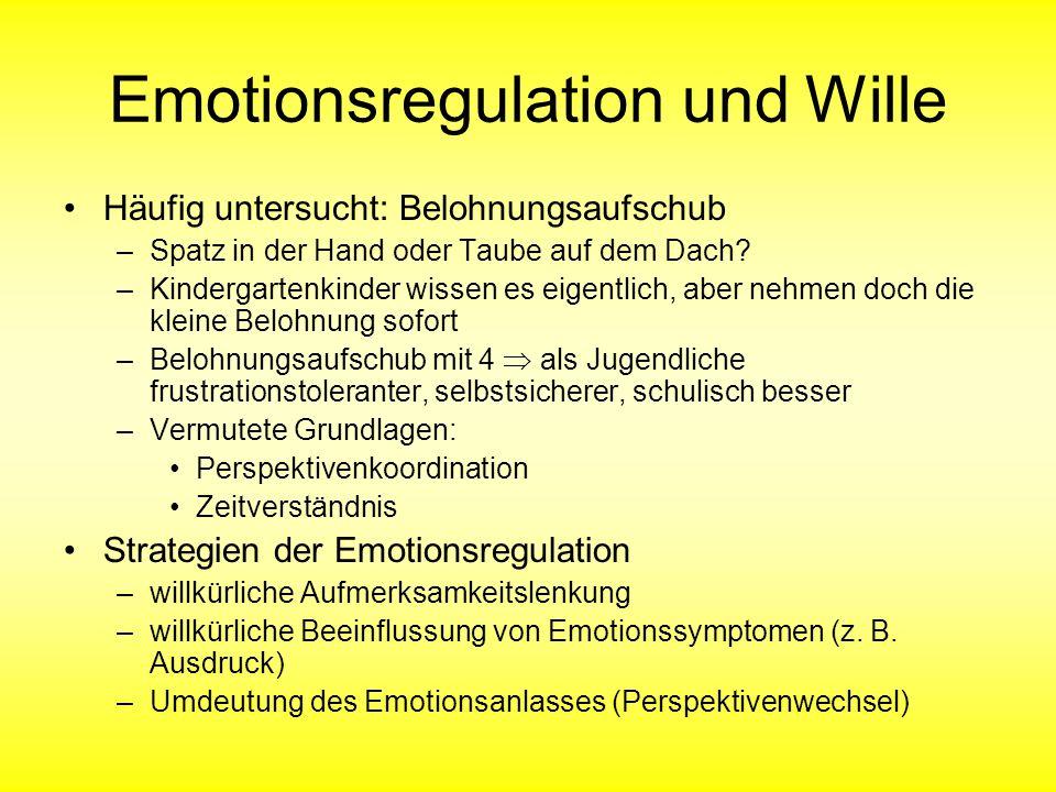 Emotionsregulation und Wille Häufig untersucht: Belohnungsaufschub –Spatz in der Hand oder Taube auf dem Dach.