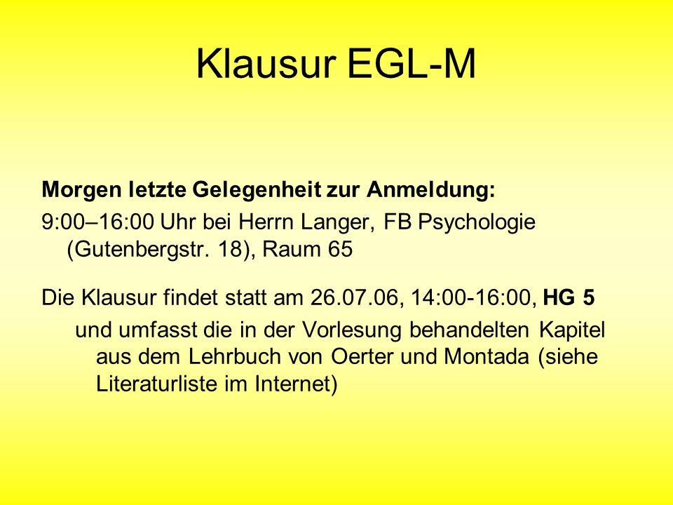 Klausur EGL-M Morgen letzte Gelegenheit zur Anmeldung: 9:00–16:00 Uhr bei Herrn Langer, FB Psychologie (Gutenbergstr.