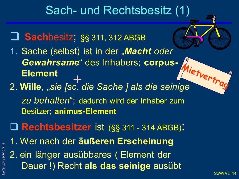 """SoWi VL- 14 Barta: Zivilrecht online Sach- und Rechtsbesitz (1) q Sachbesitz; §§ 311, 312 ABGB 1.Sache (selbst) ist in der """"Macht oder Gewahrsame des Inhabers; corpus- Element 2."""