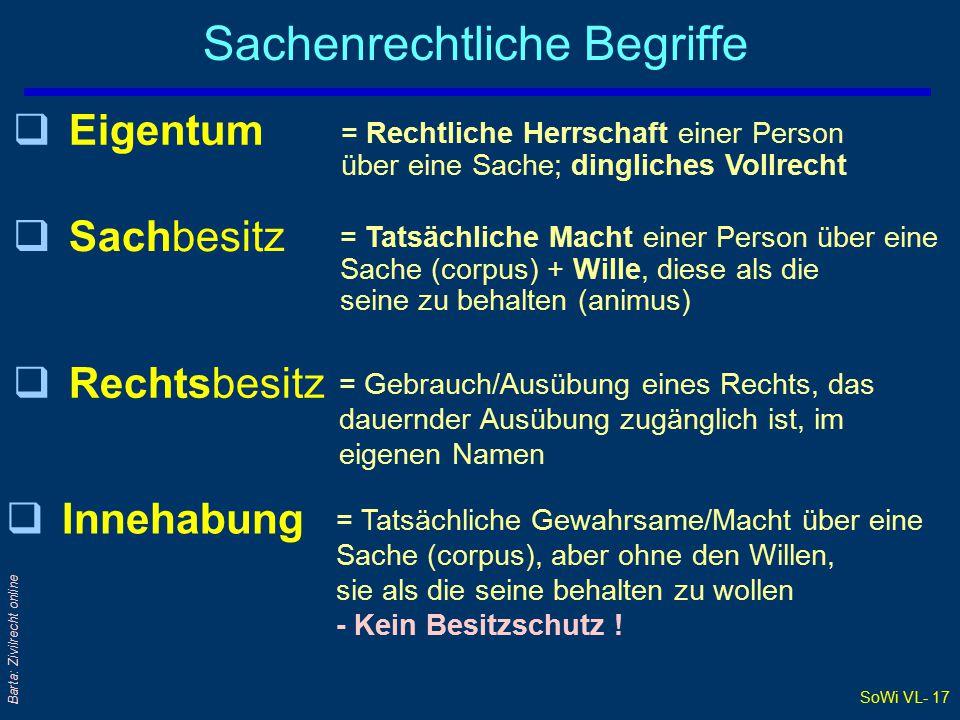 SoWi VL- 17 Barta: Zivilrecht online Sachenrechtliche Begriffe qIqInnehabung qEqEigentum = Rechtliche Herrschaft einer Person über eine Sache; dingliches Vollrecht qSqSachbesitz = Tatsächliche Macht einer Person über eine Sache (corpus) + Wille, diese als die seine zu behalten (animus) qRqRechtsbesitz = Gebrauch/Ausübung eines Rechts, das dauernder Ausübung zugänglich ist, im eigenen Namen = Tatsächliche Gewahrsame/Macht über eine Sache (corpus), aber ohne den Willen, sie als die seine behalten zu wollen - Kein Besitzschutz !