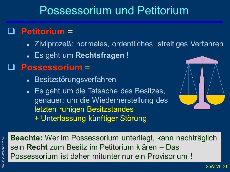 SoWi VL- 21 Barta: Zivilrecht online Possessorium und Petitorium Beachte: Wer im Possessorium unterliegt, kann nachträglich sein Recht zum Besitz im Petitorium klären – Das Possessorium ist daher mitunter nur ein Provisorium .
