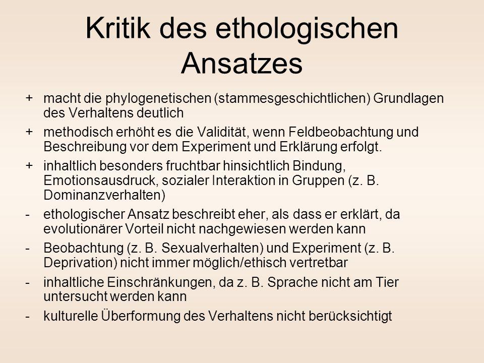 Ethologischer Ansatz (2) ethologische Methodologie: –Erstellung eines Ethogramms: Katalogisierung des Verhaltens, auslösender Bedingungen usw. –Klassi