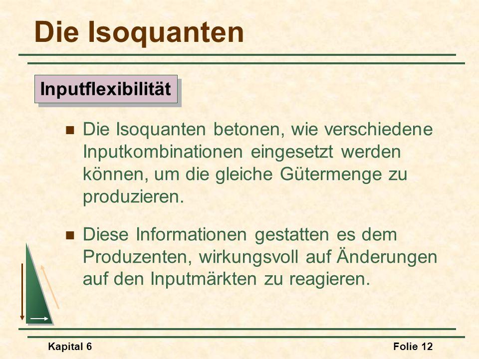 Kapital 6Folie 12 Die Isoquanten Die Isoquanten betonen, wie verschiedene Inputkombinationen eingesetzt werden können, um die gleiche Gütermenge zu pr