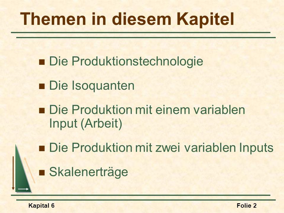 Kapital 6Folie 2 Themen in diesem Kapitel Die Produktionstechnologie Die Isoquanten Die Produktion mit einem variablen Input (Arbeit) Die Produktion m