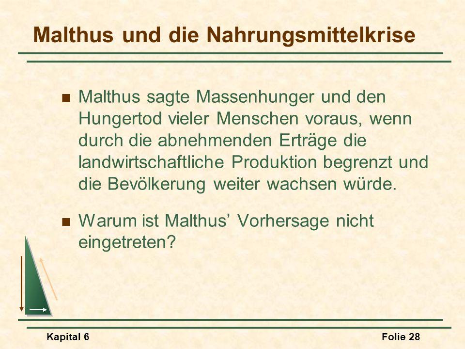 Kapital 6Folie 28 Malthus sagte Massenhunger und den Hungertod vieler Menschen voraus, wenn durch die abnehmenden Erträge die landwirtschaftliche Prod