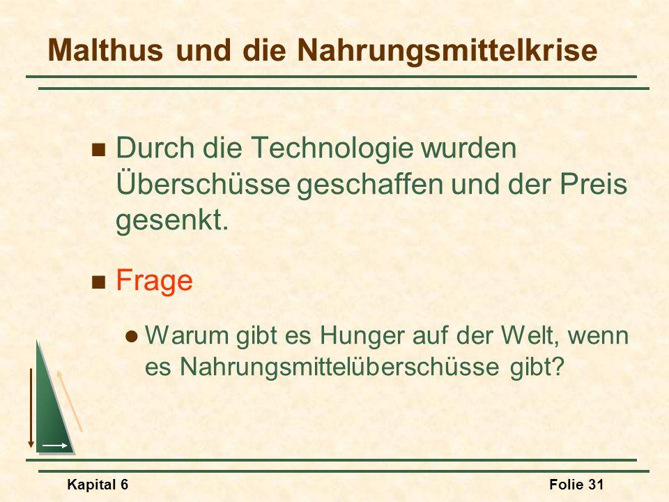Kapital 6Folie 31 Malthus und die Nahrungsmittelkrise Durch die Technologie wurden Überschüsse geschaffen und der Preis gesenkt. Frage Warum gibt es H